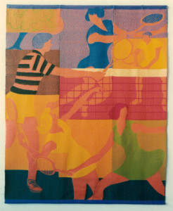 Pictorial damask hanging woven for the Courtside Tennis Club, Los Gatos, California, based on Pat McGaw's husband Bruce's painting. Pat dyed all the wool weft yarns to match the painting, joined the pieces together and did all the finishing.